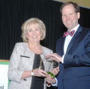 Kathy Osborn, Regional Business Council, receives 2015 Excellence in Partnership Award presented by Dan Boyle, NCI Chair