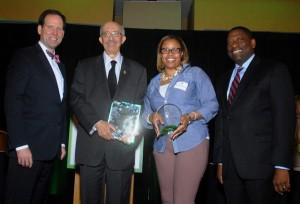 NCI Board Chair, Dan Boyle, St. Louis Economic Development Partnership CEO Denny Coleman with 2015 Public Service Award, SLEDP Erica Henderson and President Rodney Crim with Excellence in Partnership Award