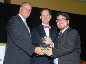 St. Louis Regional Chamber President, Joe Reagan, NCI Chair, Dan Boyle, and St. Louis Regional Chamber's Project Manager, Greg Laposa with their 2015 Excellence in Partnership Award